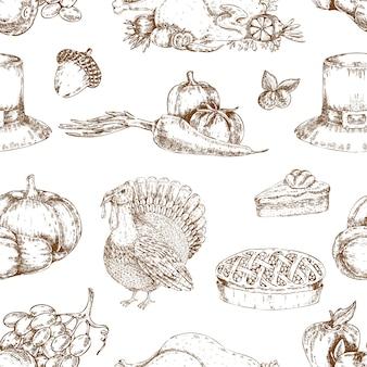 Día de acción de gracias dibujado a mano de patrones sin fisuras
