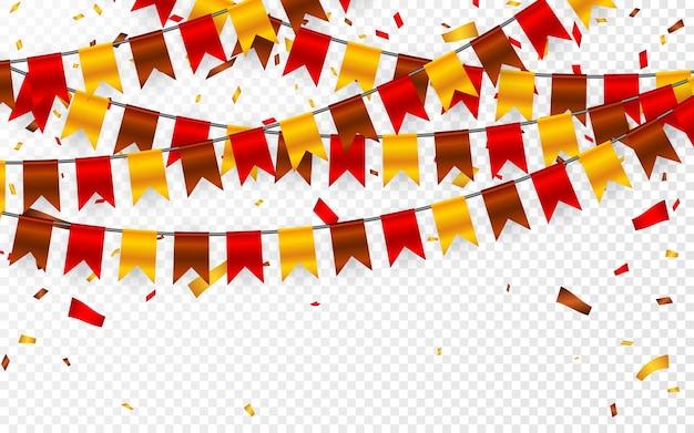 Día de acción de gracias, guirnalda de banderas sobre fondo transparente. guirnaldas de banderas amarillas marrón rojizas y confeti de papel de aluminio.