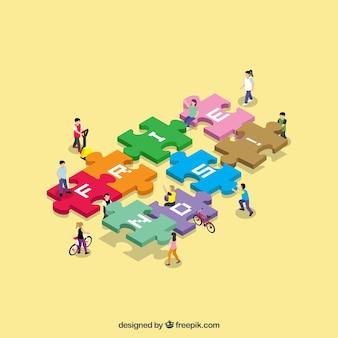Día de la amistad con gente y puzzle