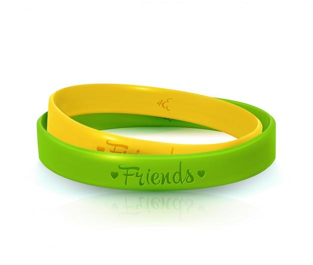 Dia de la amistad. pulseras de goma para banda de amigos.