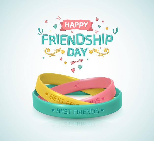 Dia de la amistad. tres pulseras de goma para banda de amigos.