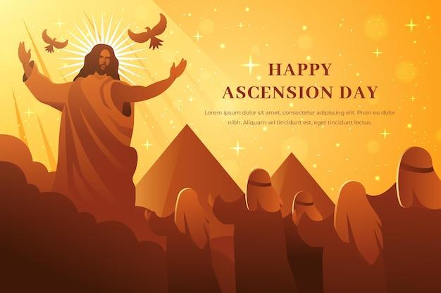 Día de la ascensión con jesús y las pirámides.
