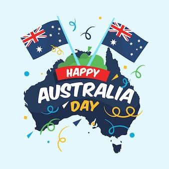 Día de australia con banderas y mapa australiano