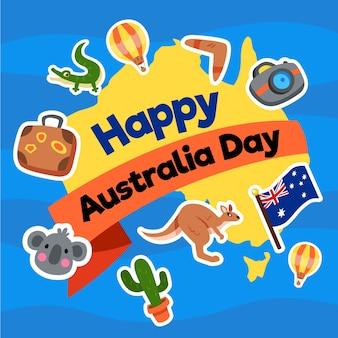 Día de australia en diseño plano con mapa y animales.