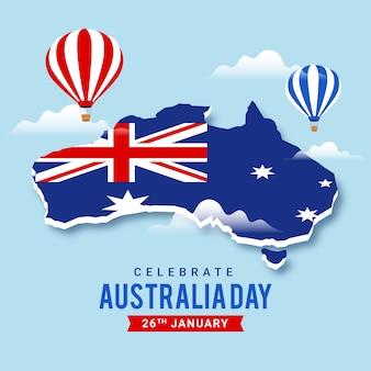 Día de australia con mapa y globos aerostáticos.
