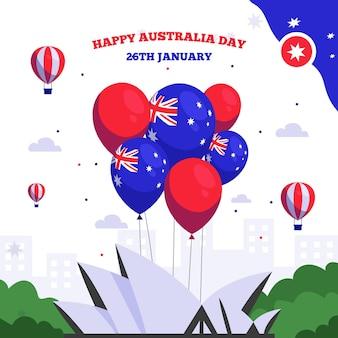 Día de australia plano con globos
