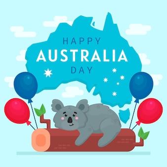 Día de australia plano con lindo oso koala