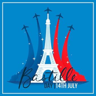 Día de la bastilla con planos y torre eiffel
