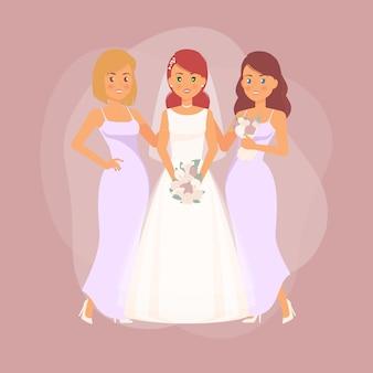 Día de la boda - novia y damas de honor posando ilustración
