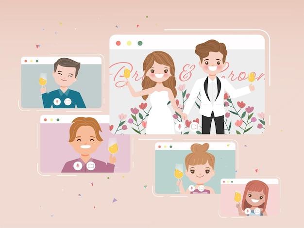 Día de la boda en un nuevo estilo de vida normal con videollamada de conferencia. diseño de vector plano de dibujos animados.
