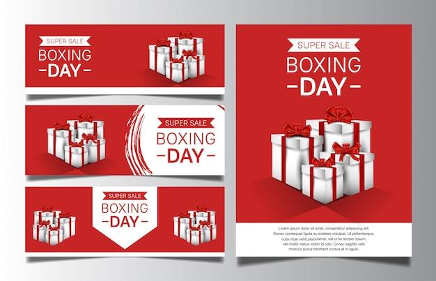Día del boxeo con caja de regalo para la plantilla de banner de venta o póster