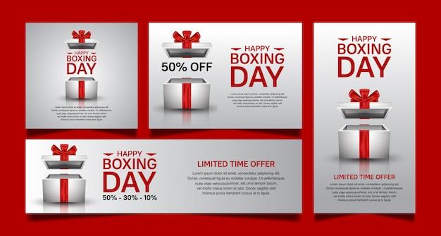 Día del boxeo establece diseño vectorial para la plantilla de banner de venta