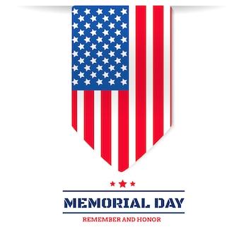 Día de los caídos con la bandera de estados unidos sobre fondo blanco