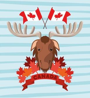Día de canadá con alce y hoja de arce.
