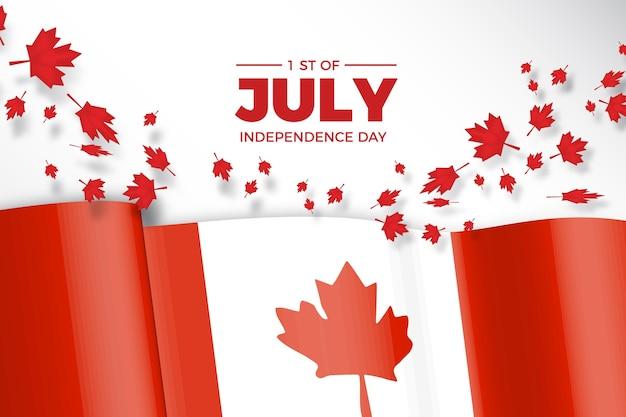 Día de canadá con bandera realista y hojas de arce