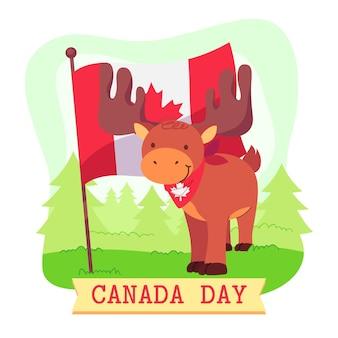 Día de canadá con bandera y venado