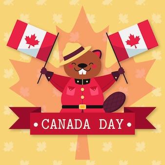 Día de canadá con castor y banderas