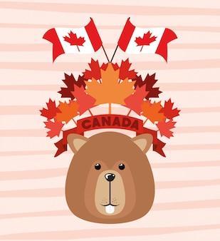 Día de canadá con castor y hoja de arce.