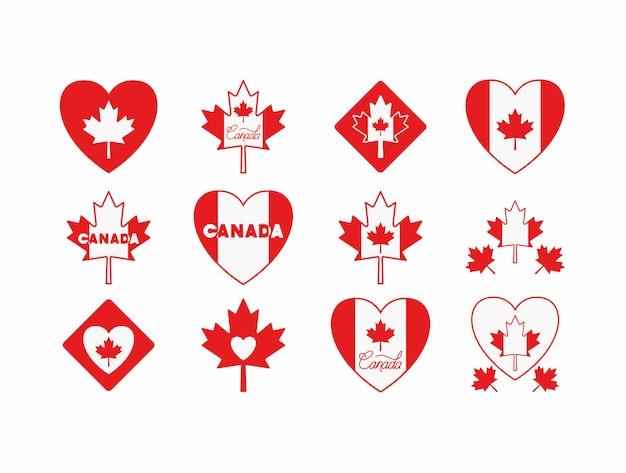 Día de canadá con el conjunto de iconos de la hoja de arce