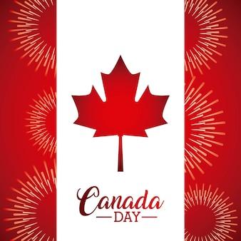 Día de canadá deja bandera de arce celebración de fuegos artificiales v