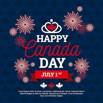 Día de canadá con fuegos artificiales
