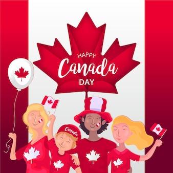 Día de canadá con gente celebrando