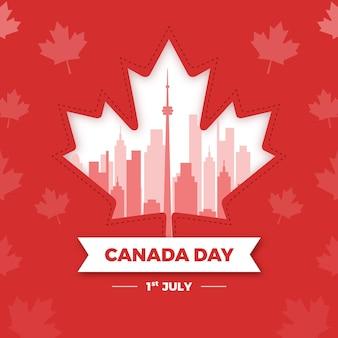 Día de canadá con la hoja de arce nacional