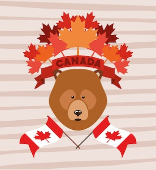 Día de canadá con oso y hoja de arce.