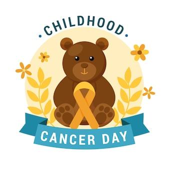 Día del cáncer infantil con osito de peluche y flores.