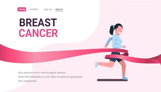 Día del cáncer de mama corriendo deporte mujer rosa cinta conciencia prevención banner