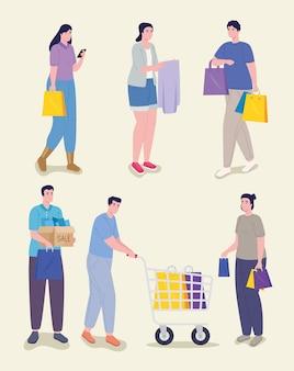 Día de compras para cinco personas.