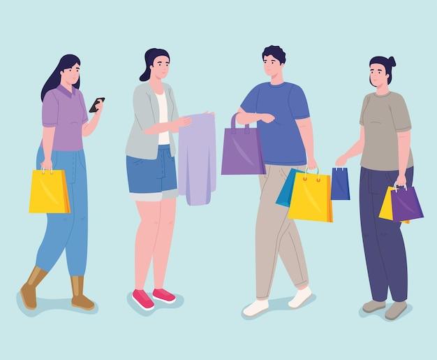Día de compras para cuatro personas