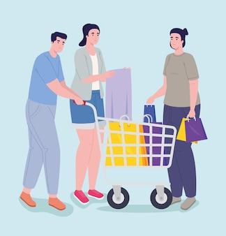 Día de compras para tres personas