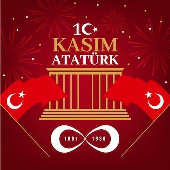 Día conmemorativo de atatürk en diseño plano