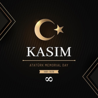 Día conmemorativo de ataturk negro y dorado