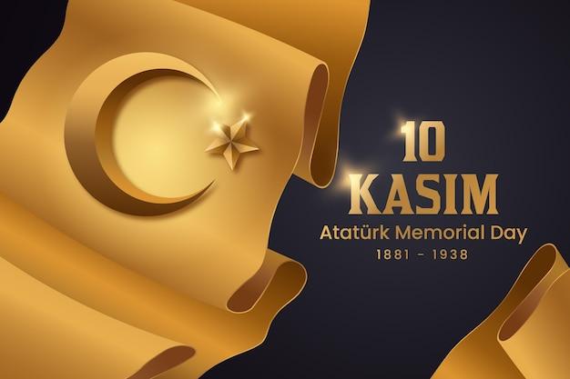 Día conmemorativo de atatürk negro y dorado