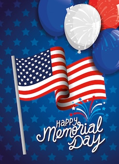 Día conmemorativo, en honor a todos los que sirvieron, con ilustración de decoración de helio con bandera y globos