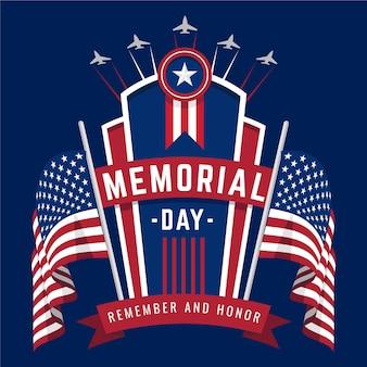 Día conmemorativo nacional americano con banderas