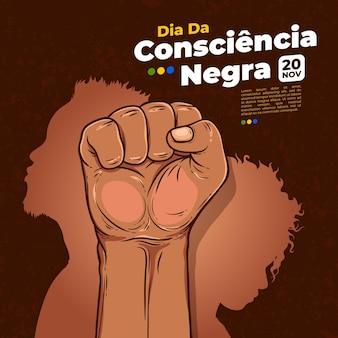 Día de la consiencia negra dibujado a mano
