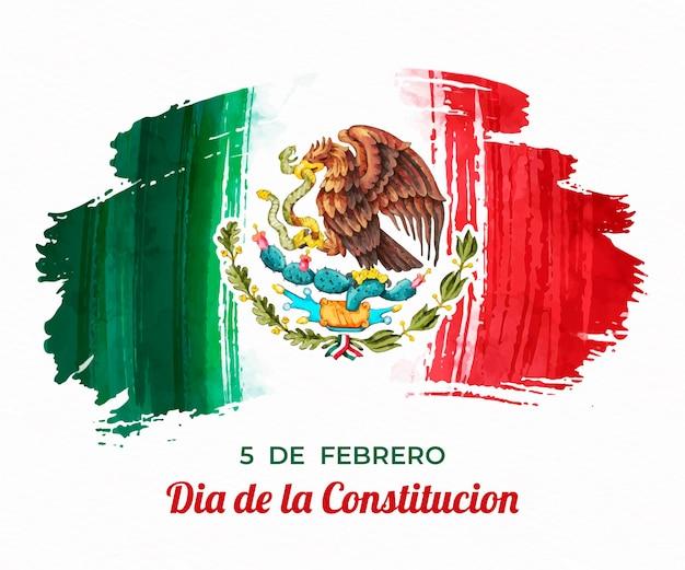 Día de la constitución con bandera de acuarela