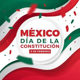 Día de la constitución con bandera de diseño plano