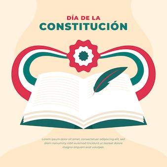 Día de la constitución mexicana dibujado a mano con libro ilustrado