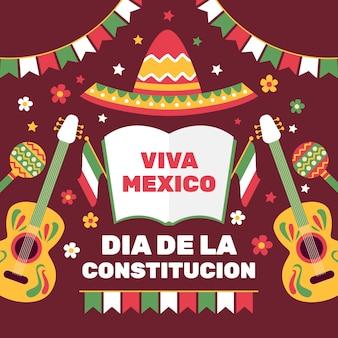 Día de la constitución de méxico dibujado a mano