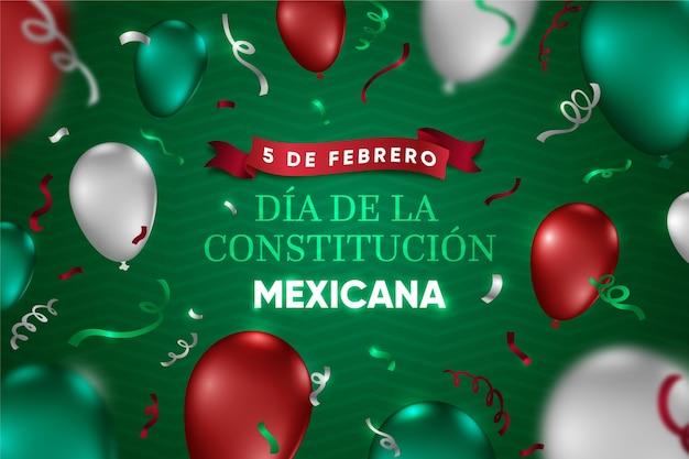 Día de la constitución de méxico con globos realistas.