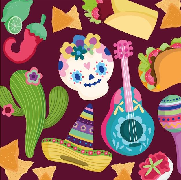 Día de la cultura muerta de méxico tradicional cráneo cactus sombrero guitarra comida fondo ilustración
