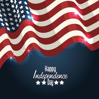 Día de la independencia con diseño de decoración de la bandera