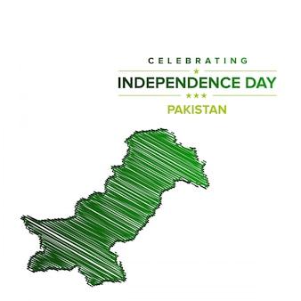 Día de la independencia de pakistán con mapa de pakistán.