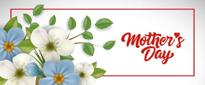 Día de la madre deletreado en marco con flores. tarjeta de felicitación del día de las madres.