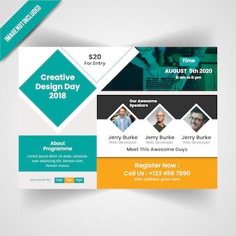 Dia del diseño creativo conferance flyer horizontal