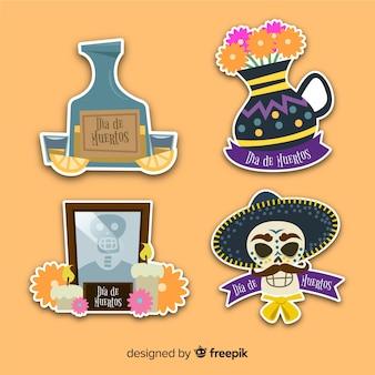 Día de diseño plano de la etiqueta muerta y plantilla de insignia